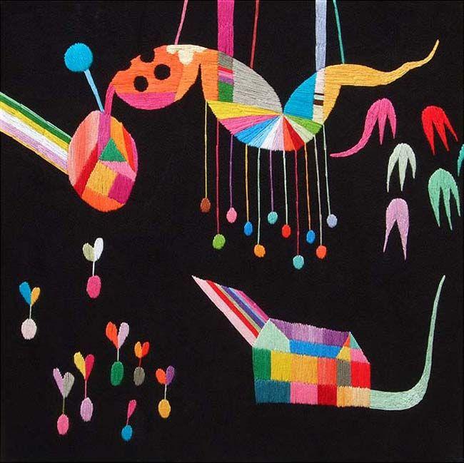 The work of Japanese-born and now Winnipeg-based artist Takashi Iwasaki. Hand embroidery on canvas.