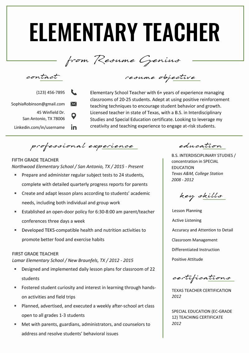 Elementary School Teacher Resume Elegant Elementary