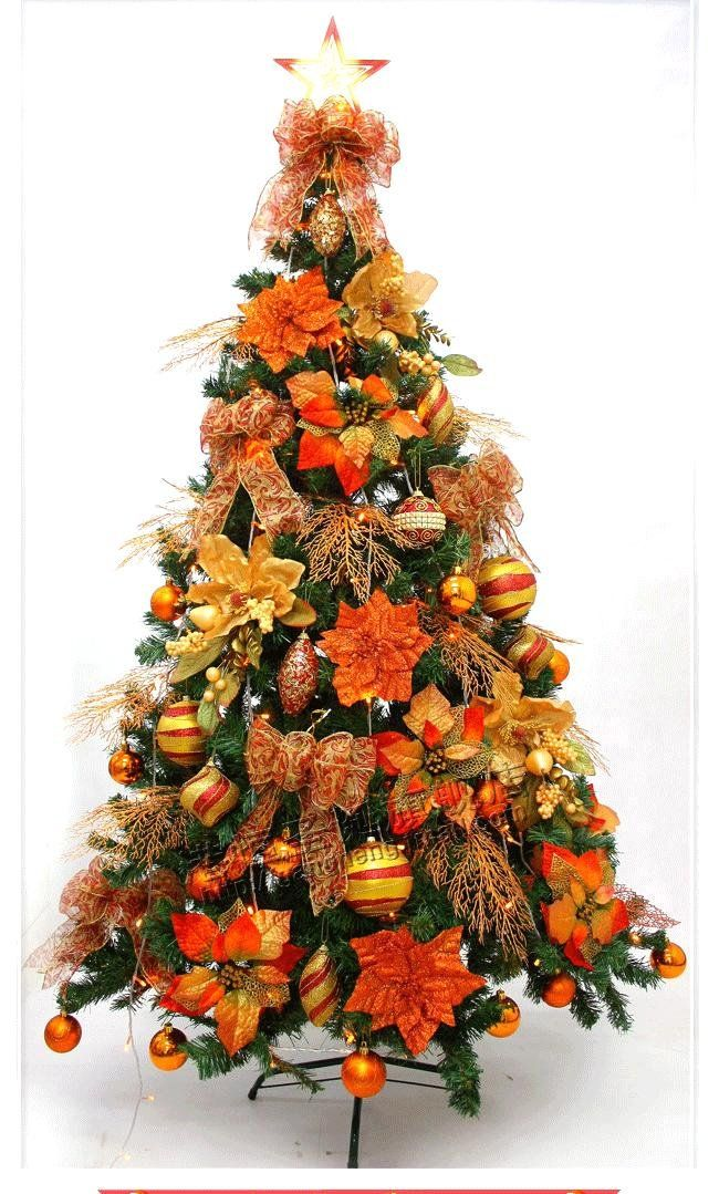 Gang H Christmas Decorations 210cm Bronze Color High Quality Luxury Decoration Packages Christm Orange Christmas Tree Orange Christmas Colorful Christmas Tree