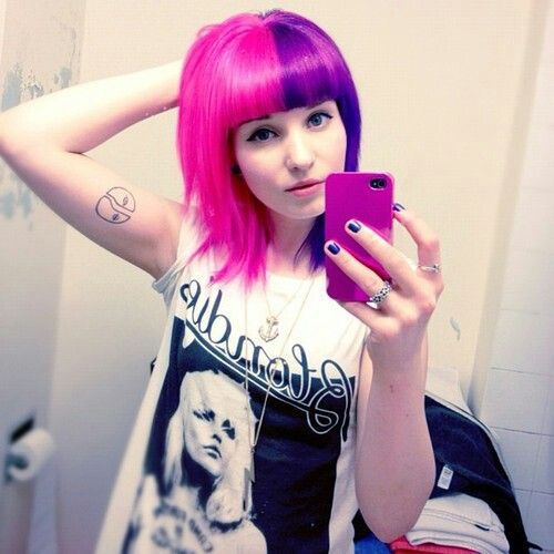 Half Pink Half Purple Short Hair With Bangs Pink Purple Hair Split Hair Short Hair With Bangs