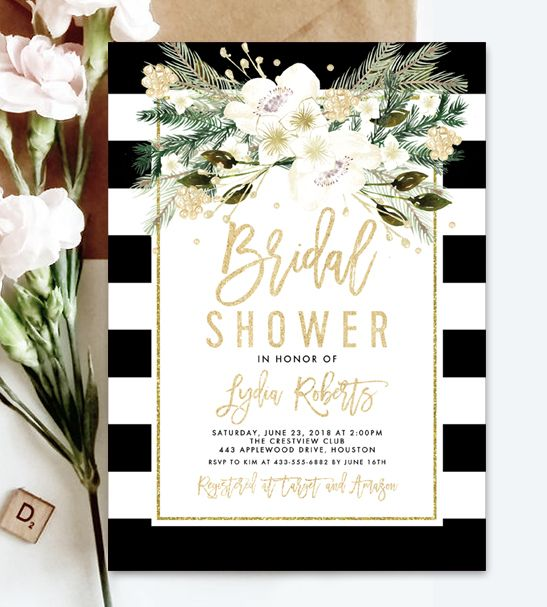Instantly Personalize Editable Bridal Shower Invitation Template - Black and white bridal shower invitation templates