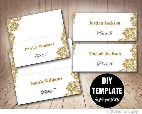 Gold Lace Wedding Place cards Template Foldover, DIY Gold Place card