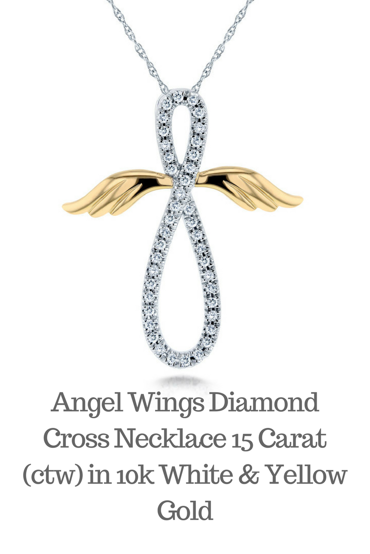 Angel Wings Diamond Cross Necklace 15 Carat Ctw In 10k White Yellow Gold: Wedding Band With Cross Pendant At Websimilar.org