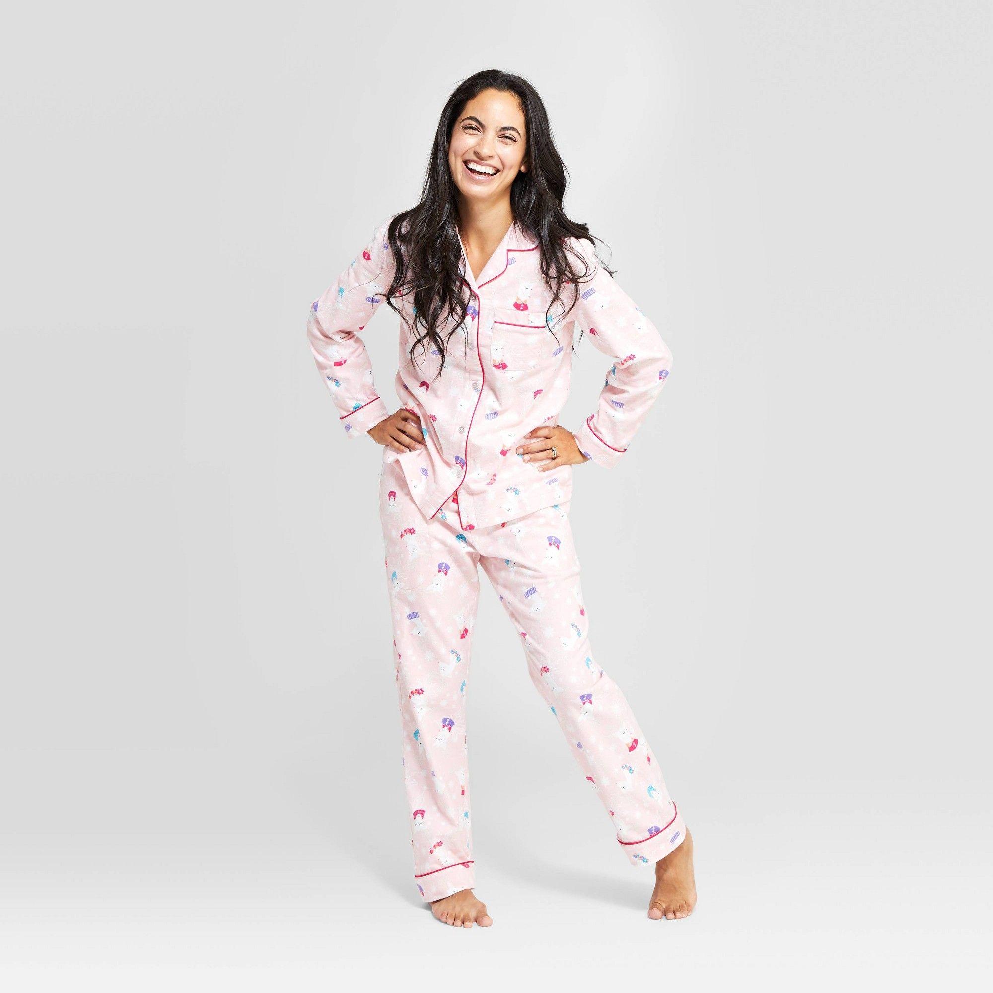 Women's Holiday Reindeer Pajama Set - Pink M, Size: Medium ...