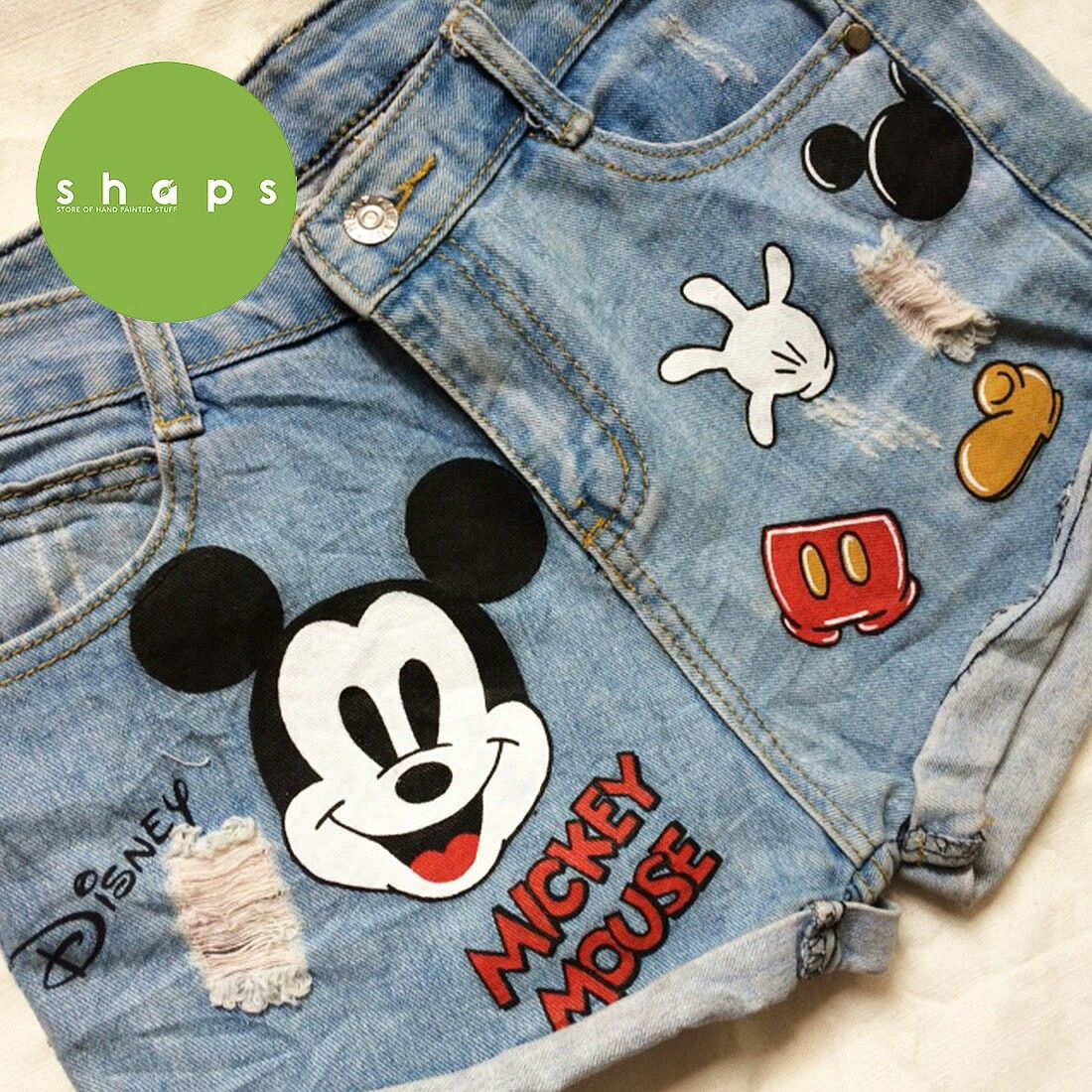 6dcb5ba7d4 Unique, custom, hand painted denim shorts. Disney Mickey Mouse ...