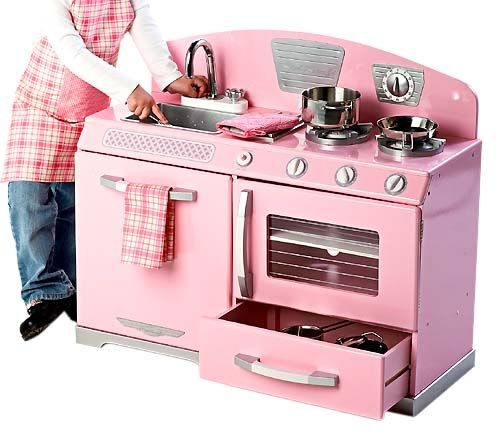 KidKraft Pink Retro Kitchen With Stainless Steel Cookware From - Kidkraft pink retro kitchen and refrigerator 53160