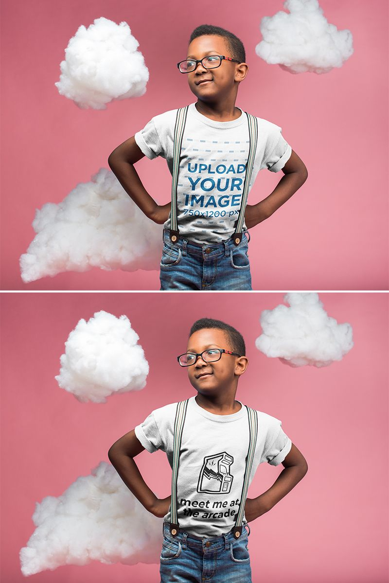 Download Placeit Kid Wearing A T Shirt Mockup And Glasses While Standing In A Pink Room With Clouds Shirt Mockup Kids Wear Black Kids