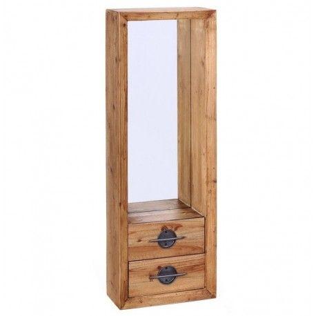 Mueble recibidor, con espejo y dos cajones, estilo industrial ...