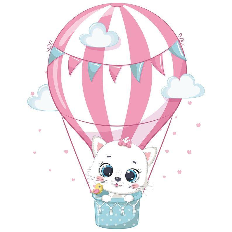 Hot Air Balloon Decorations Png Eps Baby Animal Clipart Nursery Decor Em 2021 Animais De Aquarela Pintura De Cacto Ilustracoes