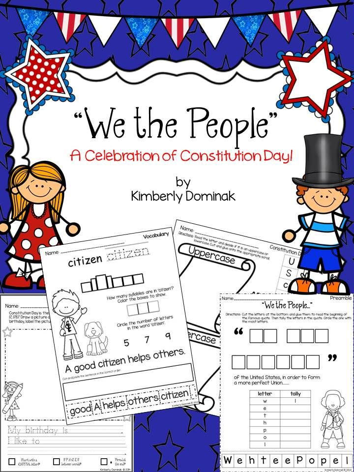 You will enjoy this pack to help celebrate Constitution Day with your young learners. There are lots of fun activities that they will find educational and engaging. You will discover: * informational text explaining Constitution Day * deciphering upper/lowercase letters * KWL chart * two writing activities that relate text to self * word search * 'We the People' cut, paste, and tally * math activities with length and size * vocabulary (citizen, law, constitution)