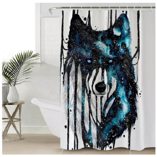 Dripping Galaxy Wolf Shower Curtain Wolf Shower Curtain Galaxy