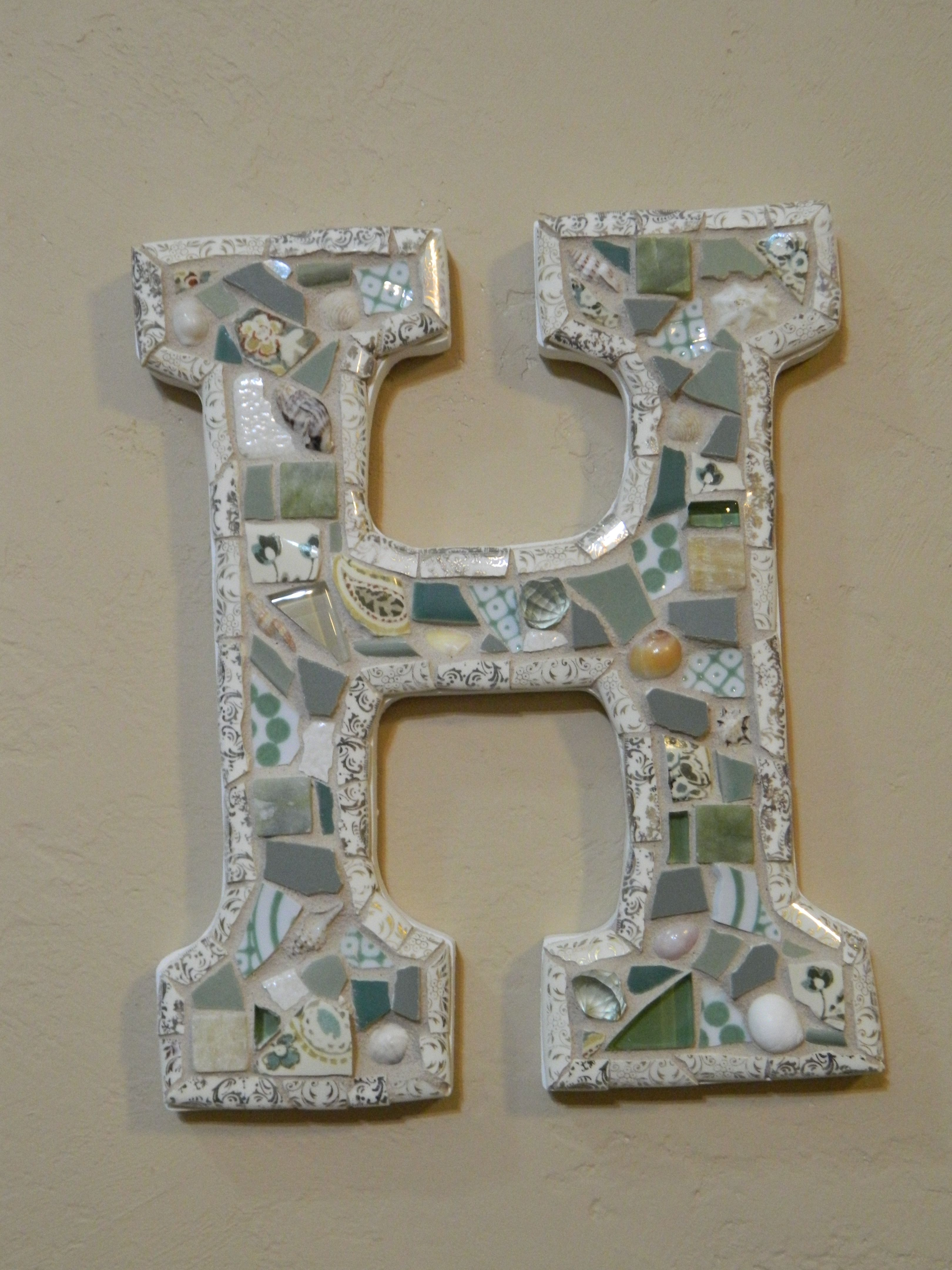 Gmail beach theme pictures - Mosaic H Cream Gold Outline Sage Green And Beach Theme Made By