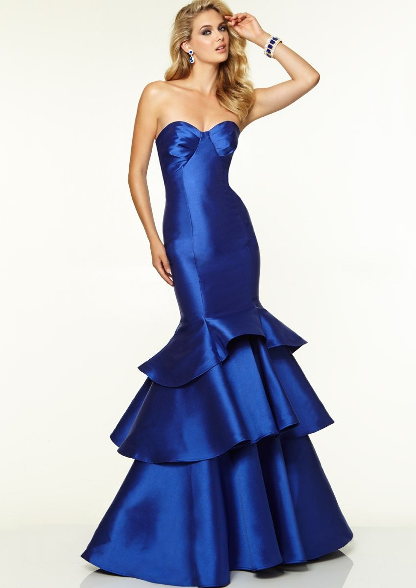 Perfect sweetheart mermaid style tiered royal blue evening dresses