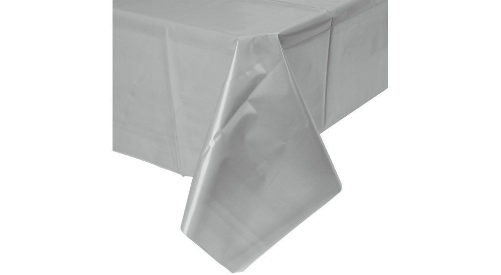 "Silver Plastic Table Cover, Rectangular (54"" x 108"")"
