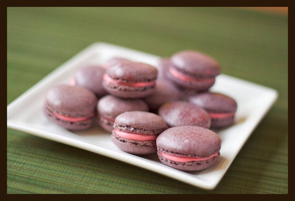Lavender Macaroons with Raspberry-Rose Mascarpone