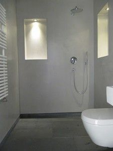 Beton Ciré badkamer tegels vloer cire op muren douchecabine met ...