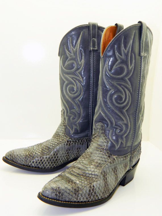 Mens Size 95d Acme Gray Snakeskin Cowboy Boots By