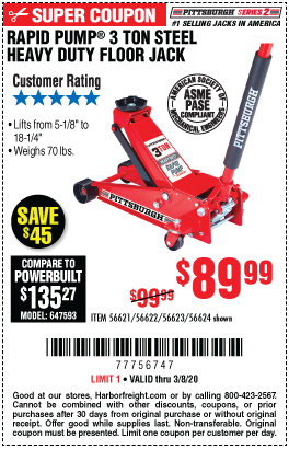 Pittsburgh Automotive 3 Ton Steel Heavy Duty Floor Jack With Rapid Pump For 89 99 In 2020 Blowout Sale Harbor Freight Tools Harbor Freight Coupon