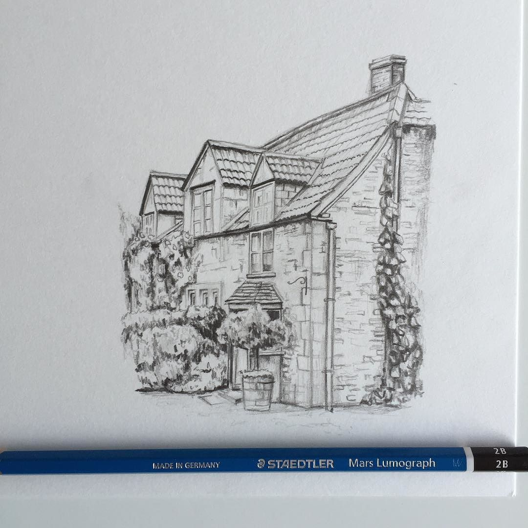 Art Drawing Pencil Sketch Illustration Linedrawing House