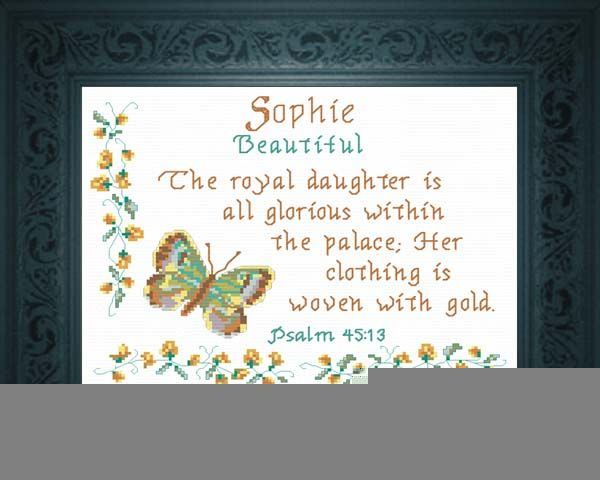 Sophie - Name Blessings Personalized Cross Stitch Design ...
