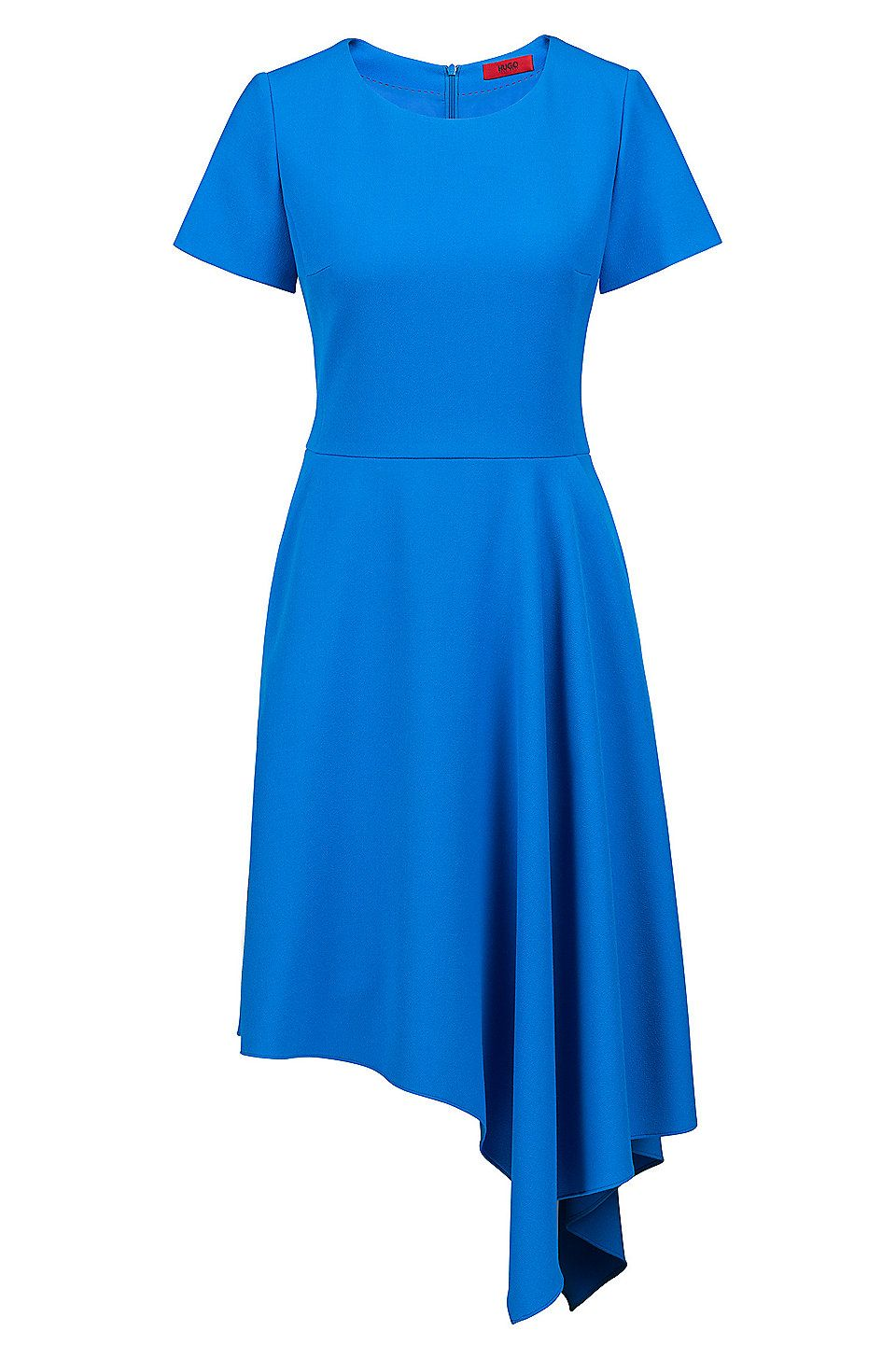 Kurzarm-Kleid aus Stretch-Krepp mit asymmetrischem Saum ...