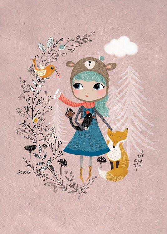 <p>Een prachtige sprookjesachtige illustraties van Rebecca Jones. Een meisje met een berenmuts met een lieve vos die niet van haar zijde wijkt. Een prachtige poster voor een baby- of kinderkamer en mooi in combinatie met Deer Girl.<br />De poster heeft een A3 formaat, off set gedrukt met matte inkt.</p>