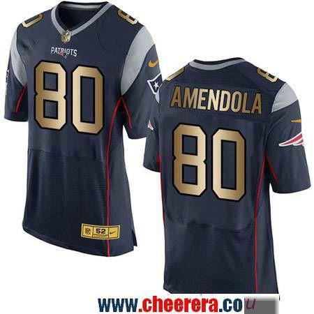 836ba8e4f Men s New England Patriots  80 Danny Amendola Navy Blue With Gold Stitched  NFL Nike Elite Jersey