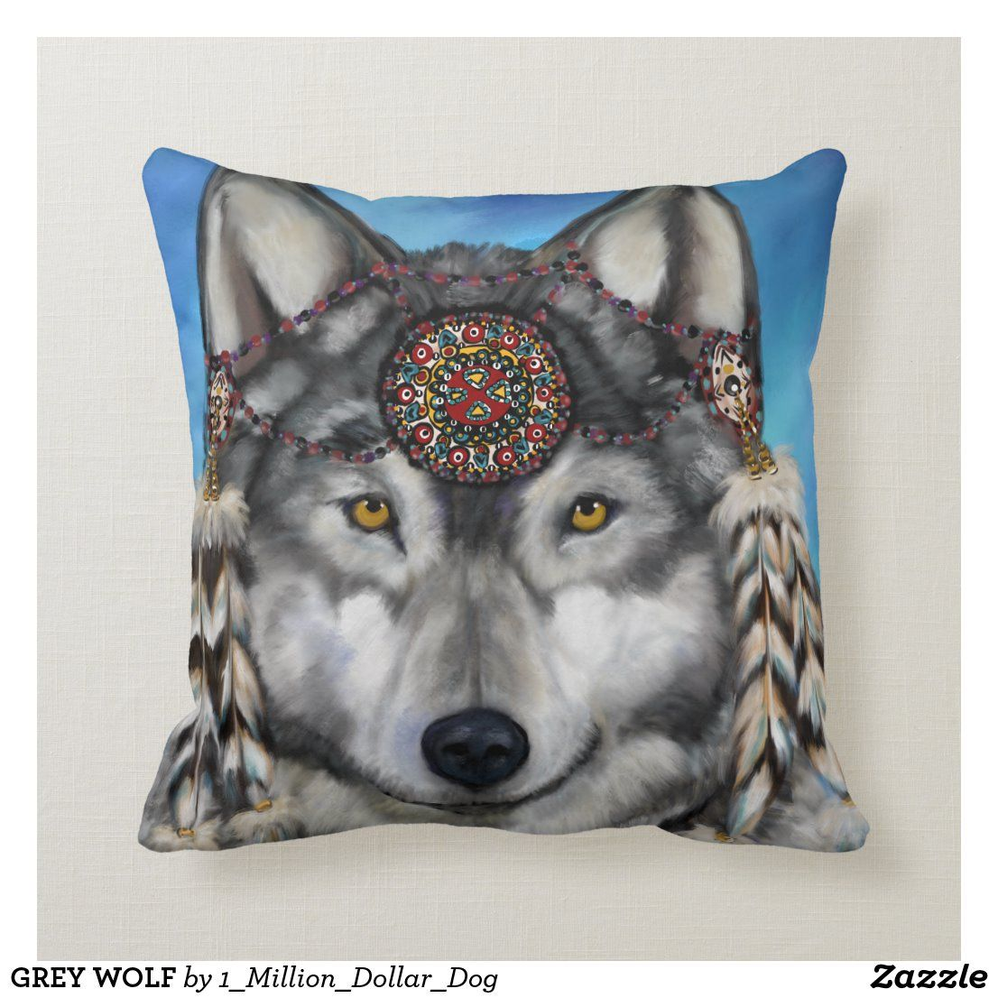 GREY WOLF THROW PILLOW in 2020 Throw