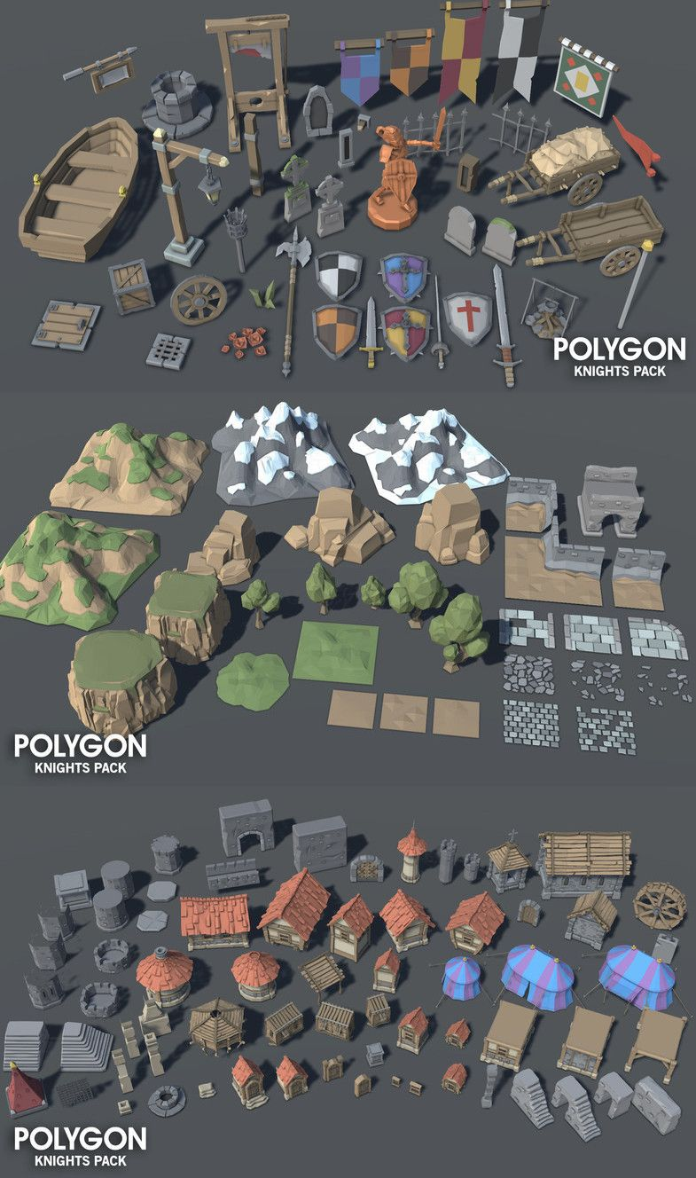 A low poly asset pack of characters, buildings, props