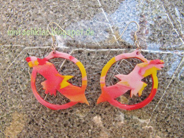 Qing's joy of creation: polymer earrings, eagle,