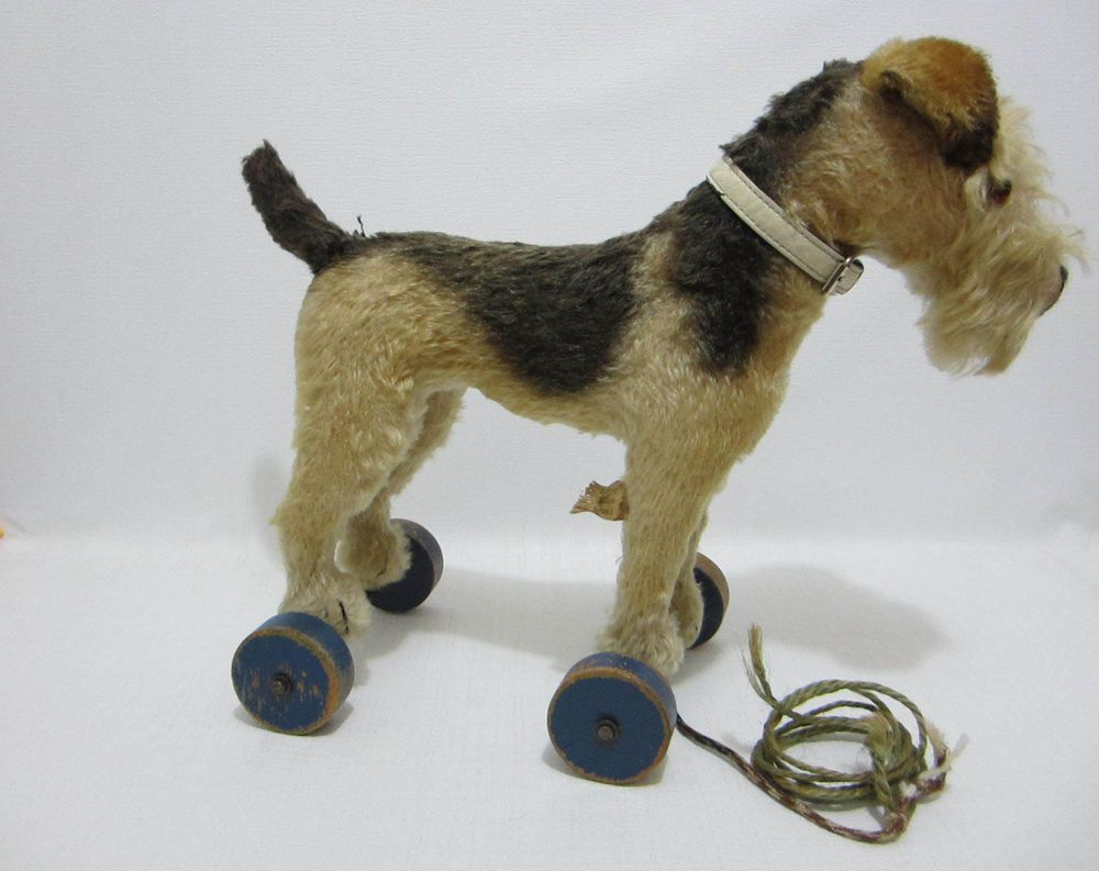 Steiff Airedale Terrier Dog On Wheels Us Zone Germany Tag Pull Toy