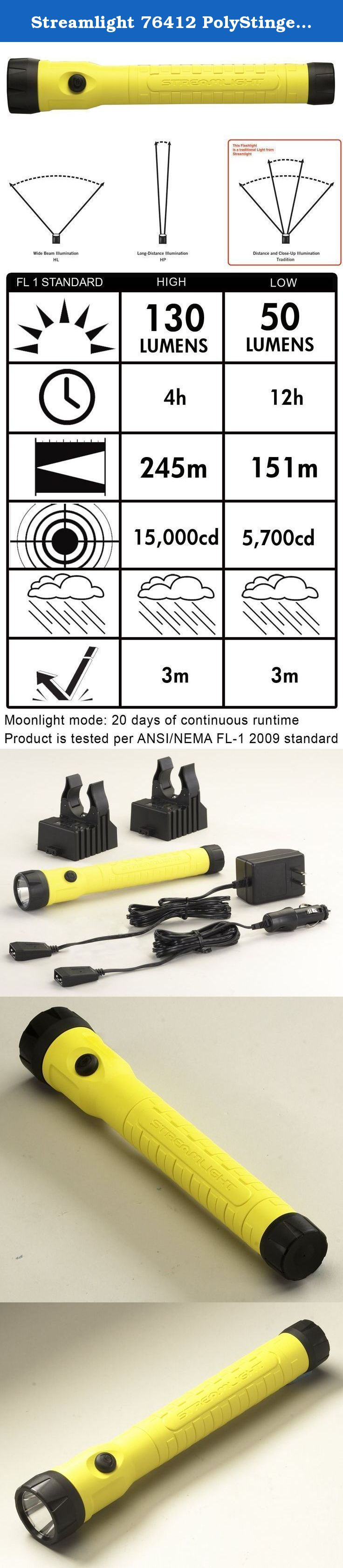 Yellow Streamlight 76412 PolyStinger LED HAZ-LO Intrinsically Safe Rechargeable Flashlight with 120-Volt AC//12-Volt DC Charger 130 Lumens