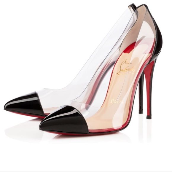 c0ecf9c46e61 Christian Louboutin Debout clear heels 100 mm 3.9 inches These are sold  out. Only issue is I had a few little rocks from gravel stuck between the  clear ...