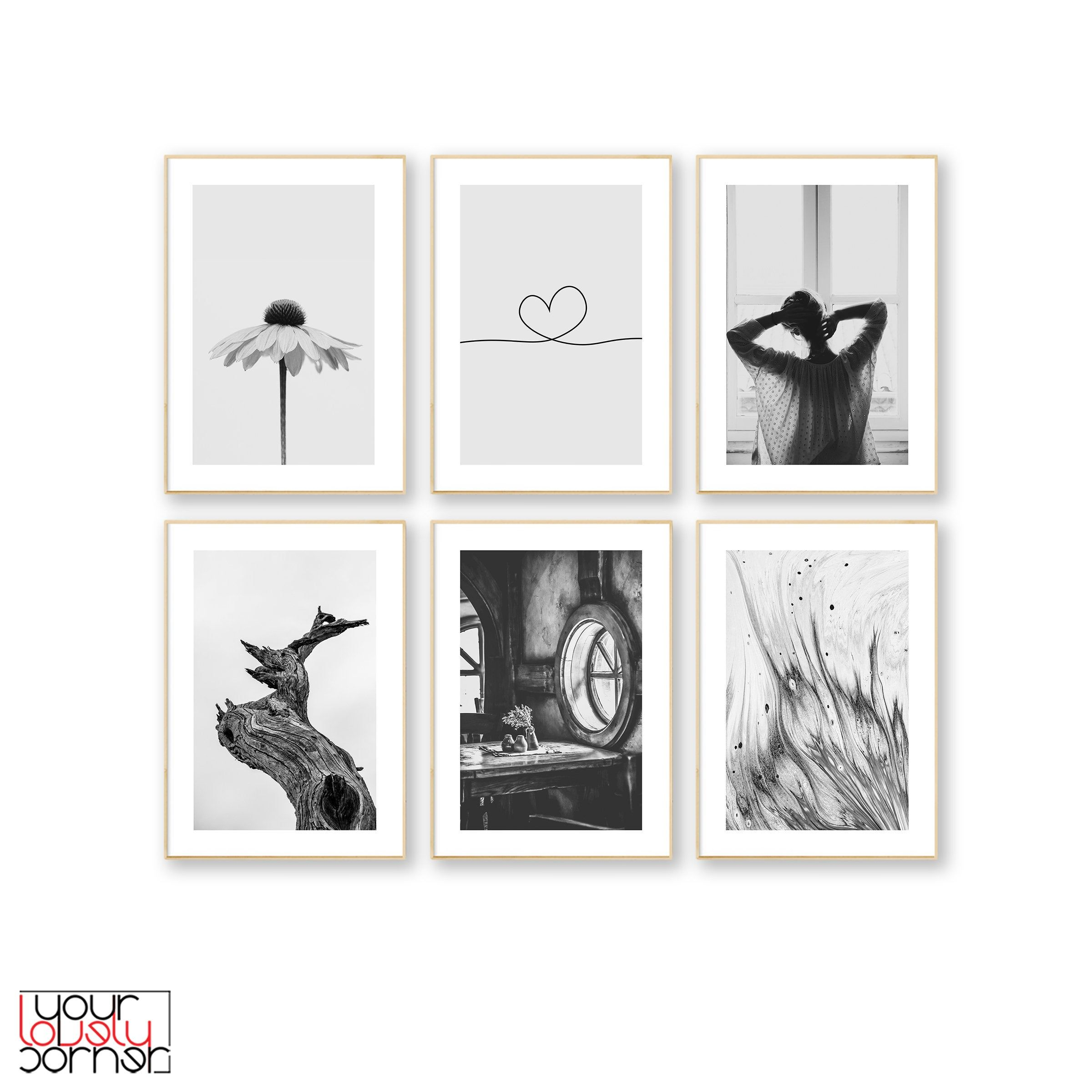 Black And White Set Of 6 Prints Minimalist Wall Art 6 Piece Etsy Etsy Wall Art Art Gallery Wall Gallery Wall Art Prints