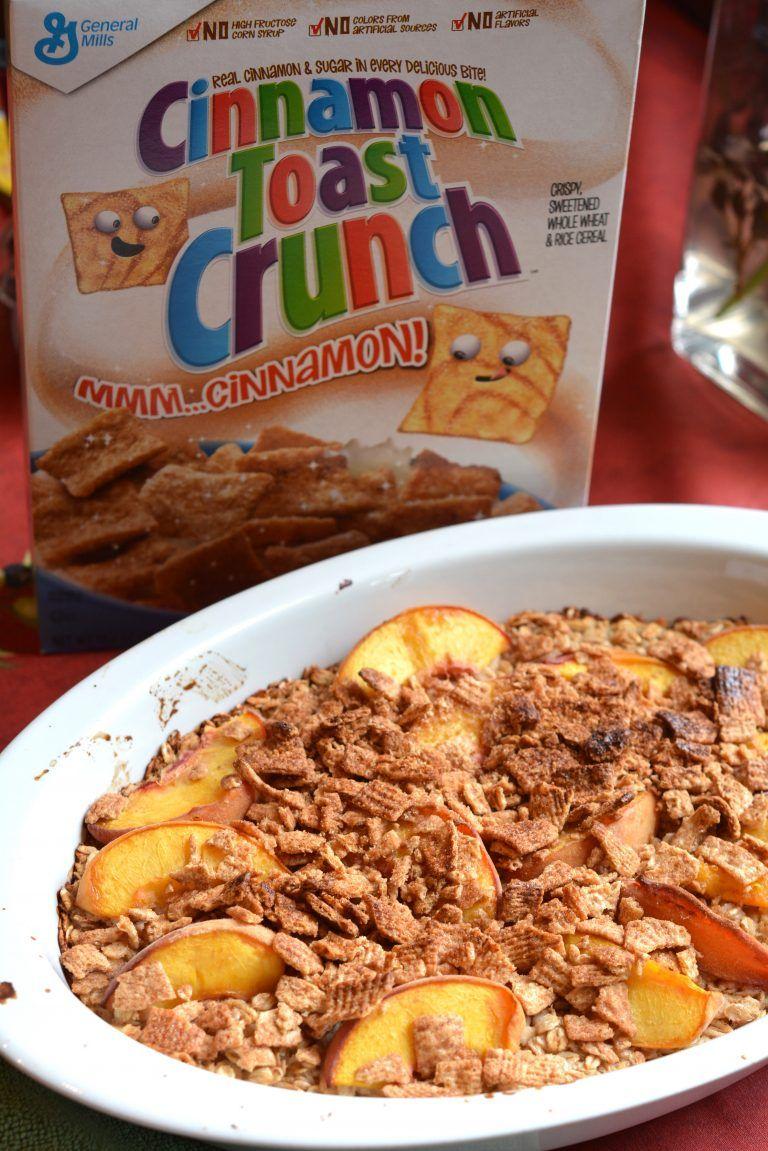 cinnamon toast crunch cake with peaches