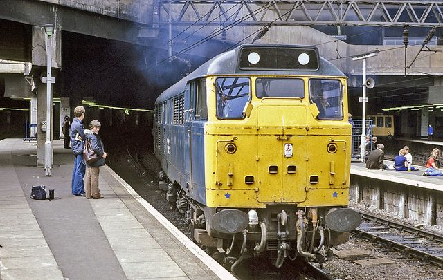 31 205 makes a spirited exit from Birmingham New Street station with the 12.36 Birmingham - Norwich on 22nd Aug 1978.