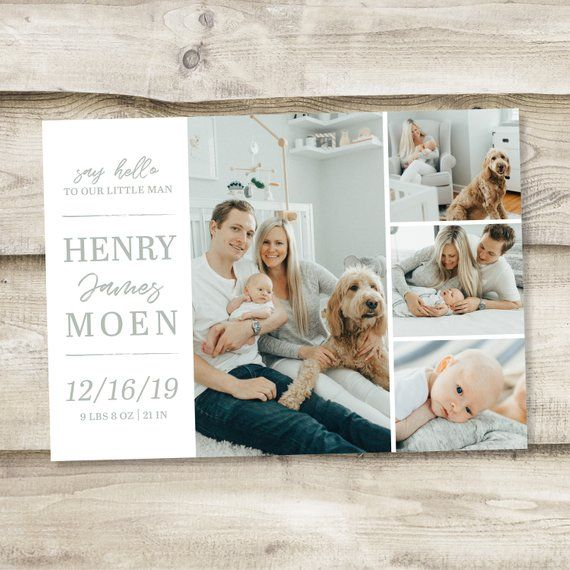 new born baby birth announcement photo card baby