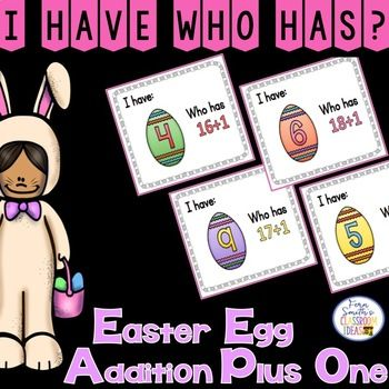 Just perfect for Easter and Spring in your classroom, whole class lessons or small group remediation, your students will love this! I Have, Who Has? Easter Eggs Addition Plus One Cards, Teacher Directions and a Teacher Answer Key. Includes: 1 Teacher Direction Sheet 1 Teacher Answer Key 20 Cards with Cute Easter Egg Numbers Clipart and Addition Plus 0 Facts (1-20) with Easter Egg Themed Numbers in Mixed Order Terrific for an Emergency Substitute Tub, Folder or Binder…