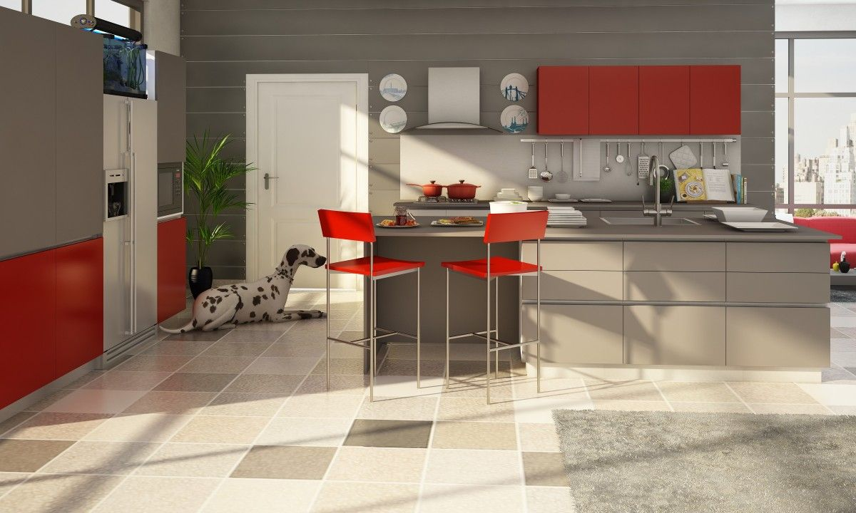 Kaitlyn parallel kitchen this neutral kitchen with a pop of red vitrified tiles vs marble which is the better flooring option dailygadgetfo Image collections