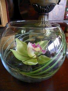 Cymbidium Dendrobium Orchid Float In Glass Bubble Bowl Floral Floral Centerpieces Orchid