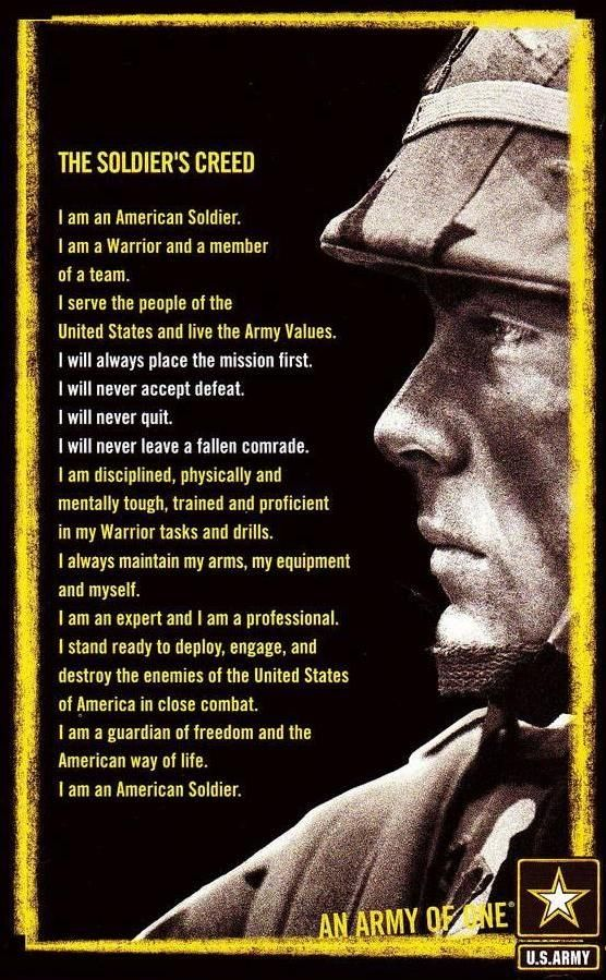 The Soldier's Creed....   Military Awesomeness   Pinterest ...