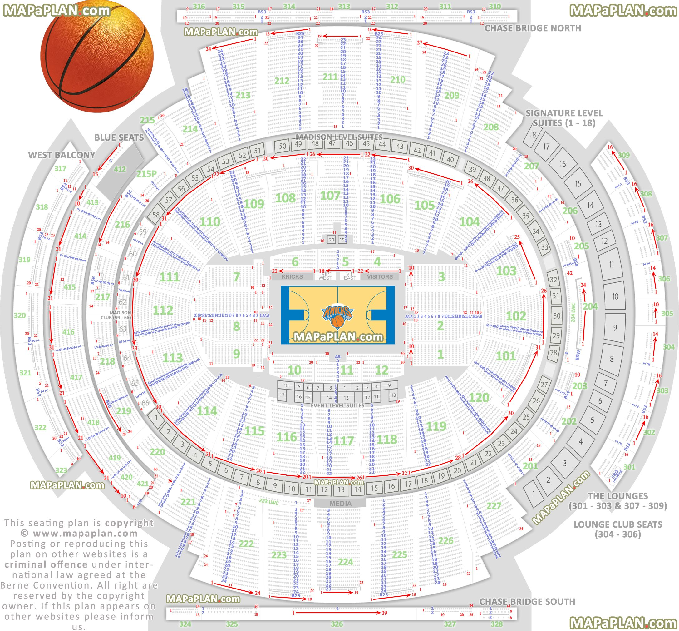 Madison Square Garden Seating Chart Detailed Seats Rows And Sections Numbers Knicks Madison