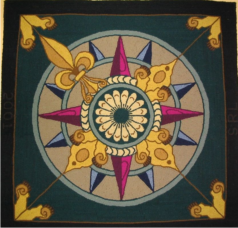 Nautical Compass Rose Rug: Mariner's Compass/a Compass Rose - Hooked Rug