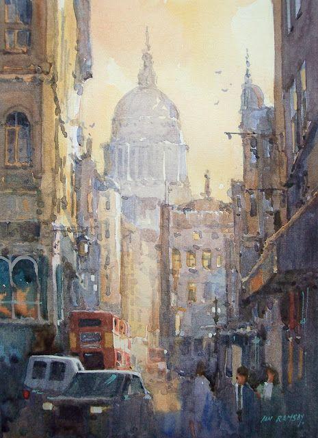 Ian Ramsay Watercolors: Aldwych at dusk