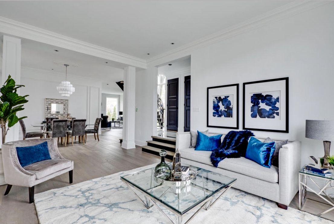 Elegant Blue And White Living Room Decor White Living Room D