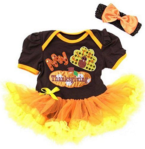 My 1st Thanksgiving Brown Cotton Bodysuit Rainbow Girl Baby Dress Set NB-18M