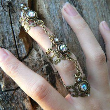 amethyst triple armor ring  nail ring nail claw nail tip knuckle ring vampire goth victorian moon goddess boho gypsy style