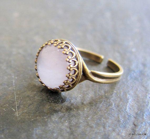 Photo of Items similar to Rose Quartz Ring Adjustable Pink Gemstone Ring Precious Stone Jewelry Exotic Boho Indie Blush Light Pink Soft Dreamy Dark Fall Autumn Winter on Etsy