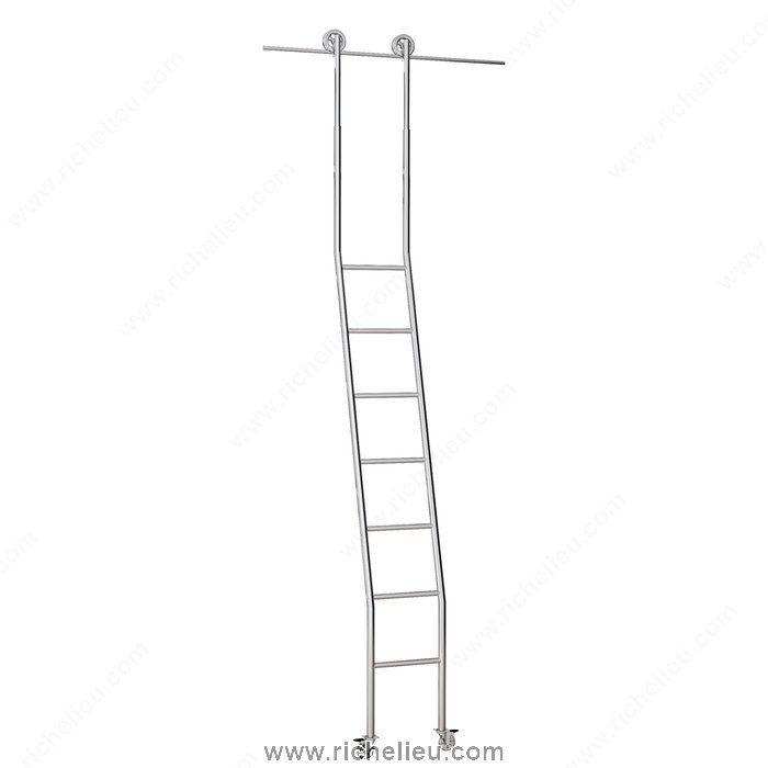 Steel Rolling Ladder Set in Polished Chrome, Adjustable Height - Richelieu Hardware