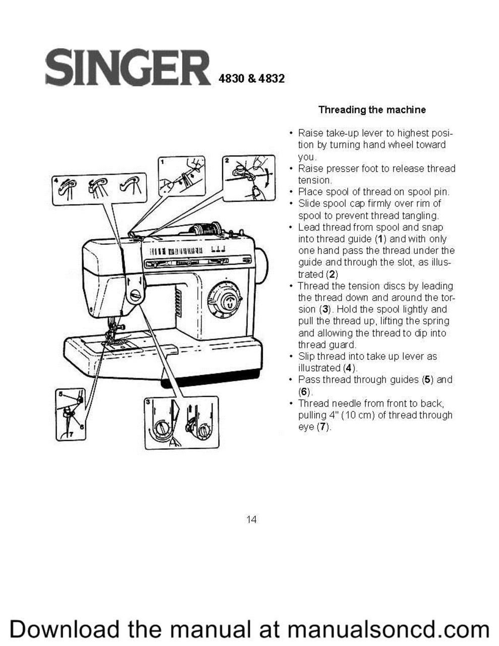 How to thread the Singer 4830 sewing machine. Free Threading Guide ...